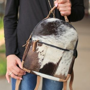 Handbags - Small  leather hair on backpack